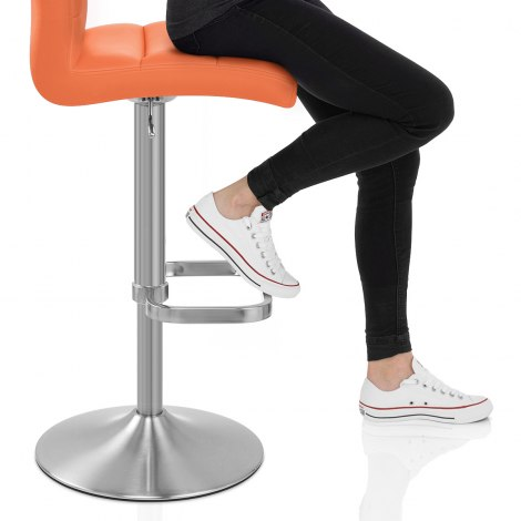 Lush Brushed Steel Bar Stool Orange Seat Image