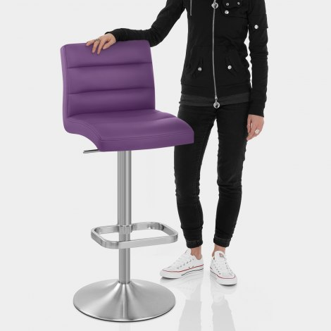 Lush Brushed Steel Bar Stool Purple Features Image