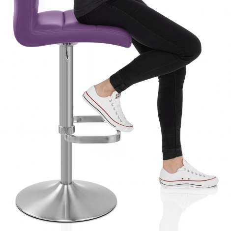Lush Brushed Steel Bar Stool Purple Seat Image