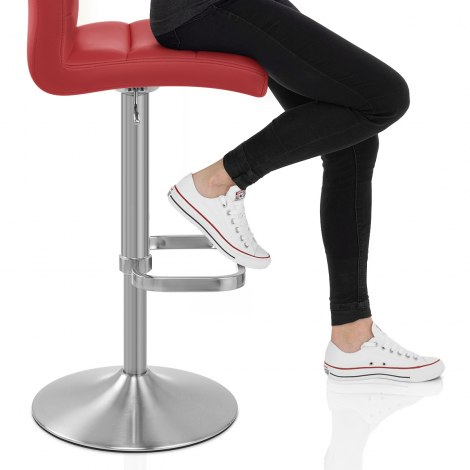 Lush Brushed Steel Bar Stool Red Seat Image