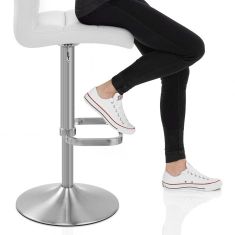 Lush Brushed Steel Bar Stool White Seat Image