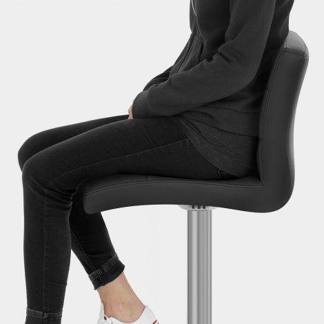 Lush Real Leather Brushed Stool Black Seat Image