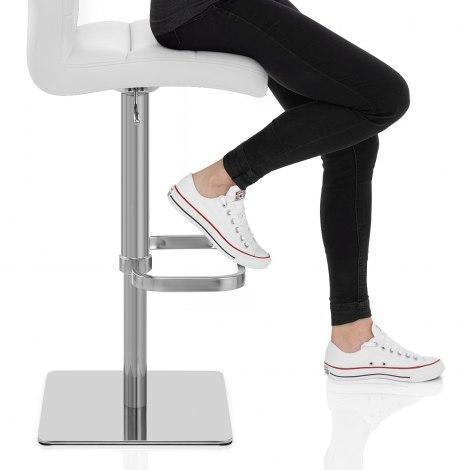 Lush Real Leather Brushed Stool White Seat Image