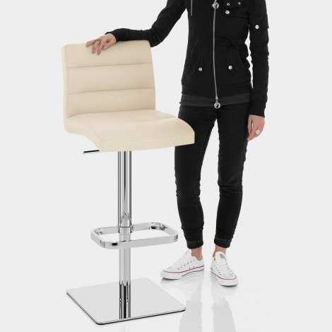 Lush Real Leather Chrome Stool Cream Features Image