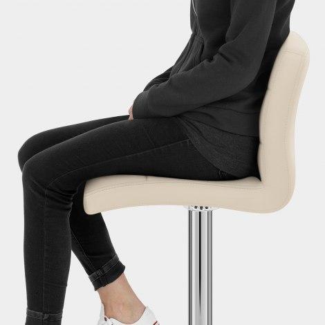Lush Real Leather Chrome Stool Cream Seat Image
