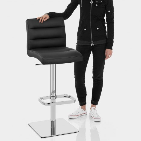 Lush Real Leather Chrome Stool Black Features Image