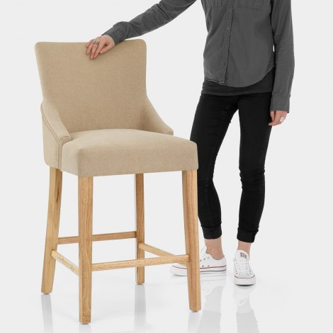 Magna Oak & Beige Fabric Bar Stool Features Image