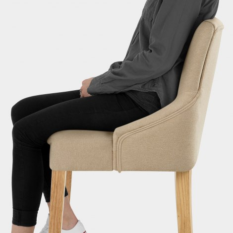Magna Oak & Beige Fabric Bar Stool Seat Image