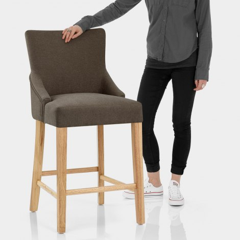 Magna Oak & Brown Fabric Bar Stool Features Image