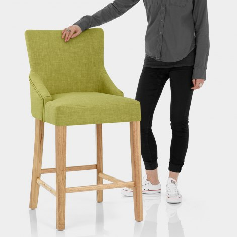 Magna Oak & Green Fabric Bar Stool Features Image