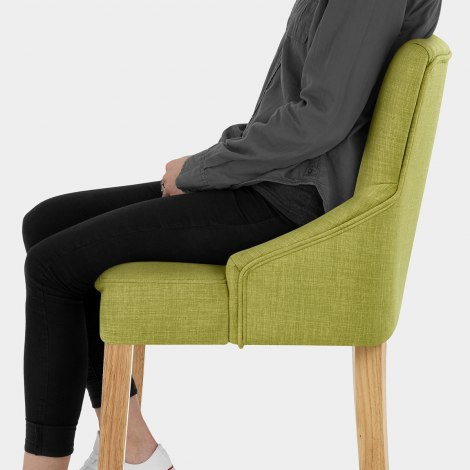 Magna Oak & Green Fabric Bar Stool Seat Image