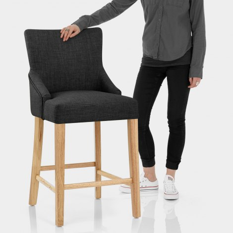 Magna Oak & Grey Fabric Bar Stool Features Image