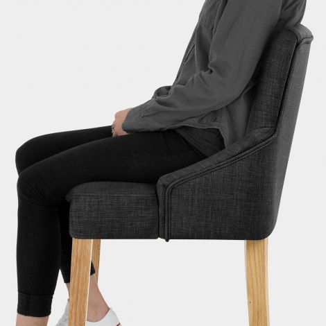 Magna Oak & Grey Fabric Bar Stool Seat Image
