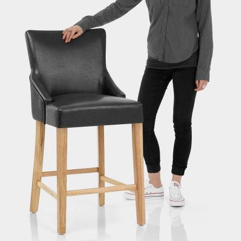 Magna Oak & Black Faux Leather Stool Features Image