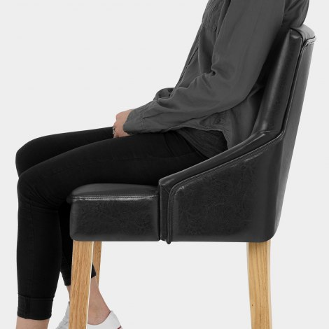 Magna Oak & Black Faux Leather Stool Seat Image