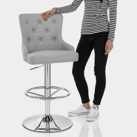 Manor Bar Stool Grey Fabric Features Image