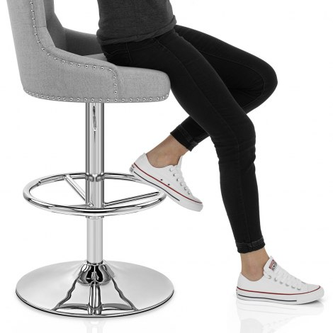 Manor Bar Stool Grey Fabric Seat Image