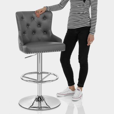 Manor Bar Stool Grey Leather Features Image