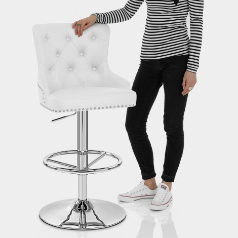Manor Bar Stool White Leather Features Image