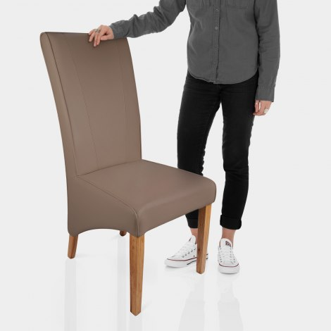 Marseille Madras Leather Dining Chair Taupe Features Image