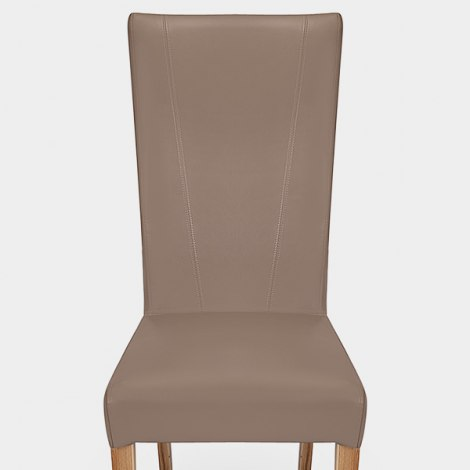 Marseille Madras Leather Dining Chair Taupe Seat Image