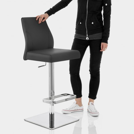 Martello Real Leather Stool Black Features Image