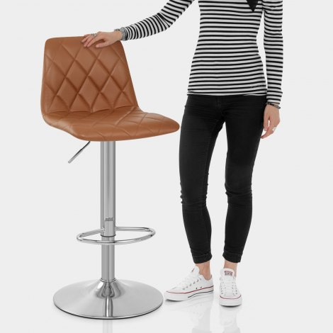 Melody Real Leather Brushed Stool Brown Features Image