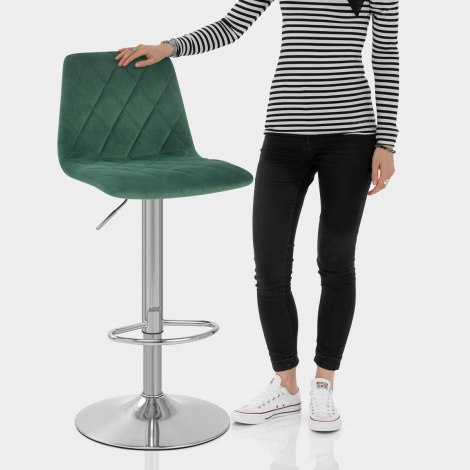 Melody Brushed Stool Green Velvet Features Image