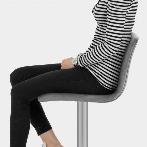Melody Brushed Stool Grey Velvet Seat Image