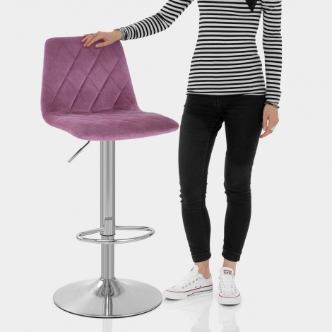 Melody Brushed Stool Purple Velvet Features Image