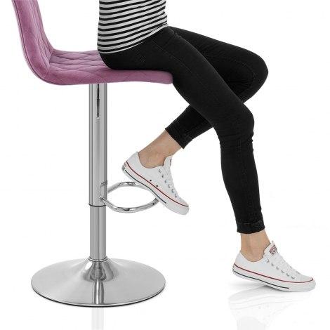 Melody Brushed Stool Purple Velvet Seat Image