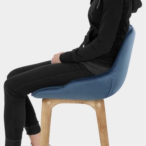 Miami Wooden Stool Blue Velvet Seat Image