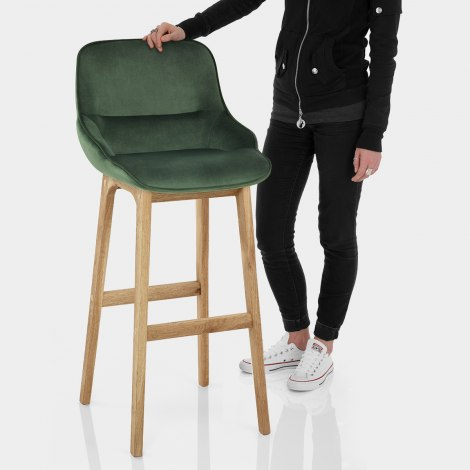 Miami Wooden Stool Green Velvet Features Image