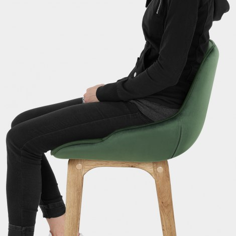 Miami Wooden Stool Green Velvet Seat Image