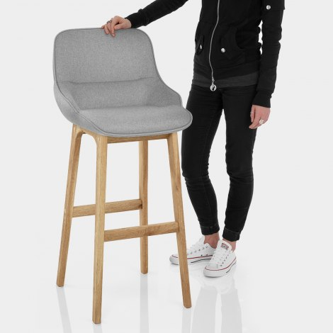Miami Wooden Stool Grey Fabric Features Image