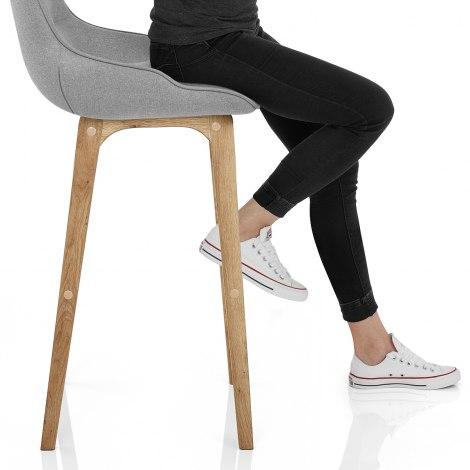 Miami Wooden Stool Grey Fabric Seat Image