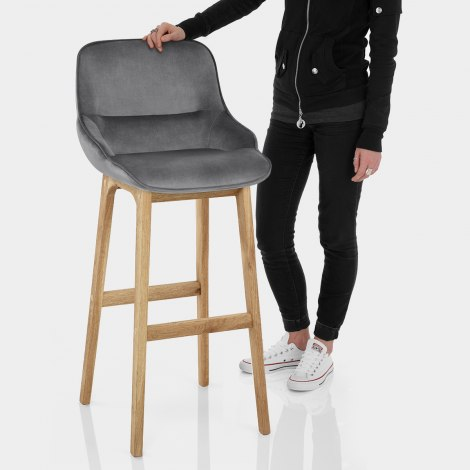 Miami Wooden Stool Grey Velvet Features Image