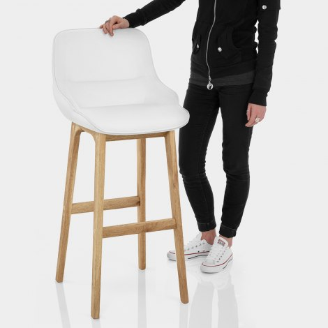 Miami Wooden Stool White Leather Features Image