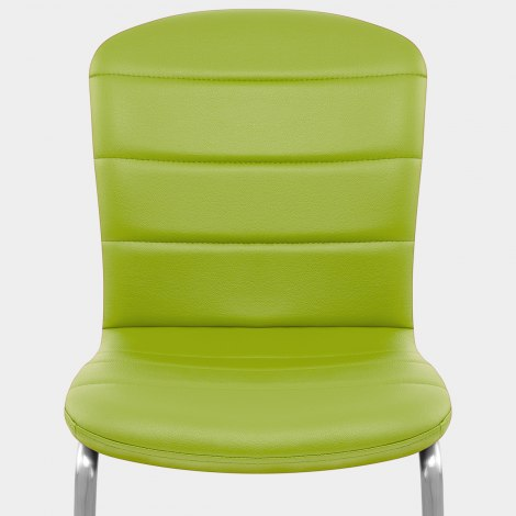 Mica Brushed Dining Chair Green Seat Image