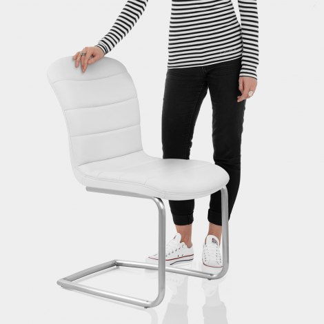 Mica Brushed Dining Chair White Features Image