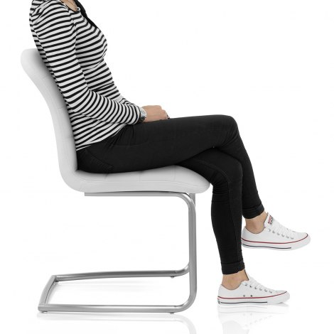 Mica Brushed Dining Chair White Seat Image