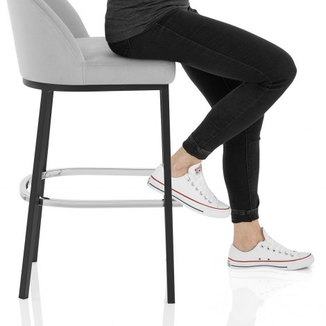 Milo Bar Stool Grey Velvet Seat Image