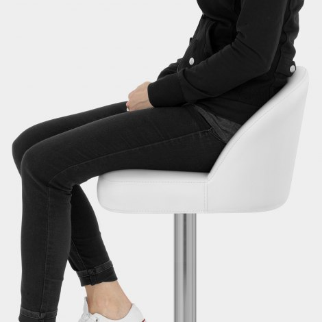 Mimi Brushed Steel Stool White Seat Image
