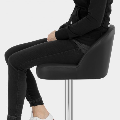 Mimi Chrome Stool Black Seat Image