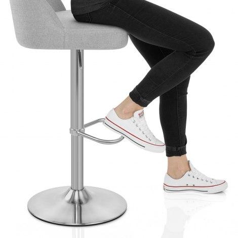 Mimi Brushed Steel Stool Grey Fabric Seat Image
