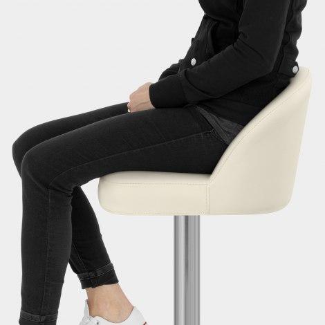 Mimi Real Leather Bar Stool Cream Seat Image