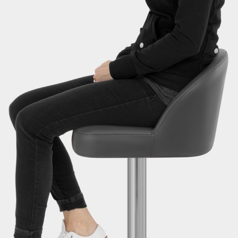 Mimi Real Leather Bar Stool Grey Seat Image