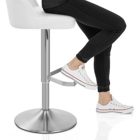 Mimi Real Leather Bar Stool White Seat Image