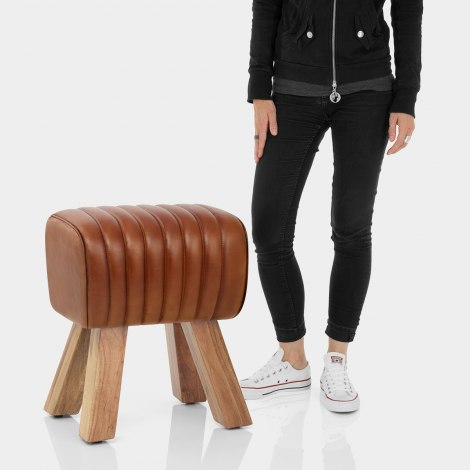 Mini Pommel Stool Antique Brown Leather Features Image