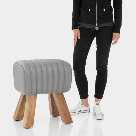 Mini Pommel Stool Antique Grey Leather Features Image